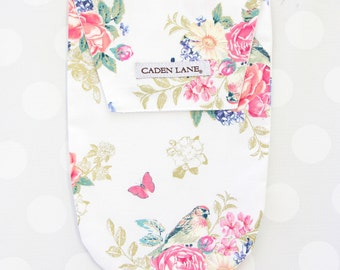Olivia's Floral | White and Gold Diaper and Wipe Holder