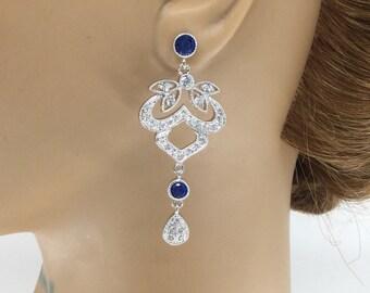 Sapphire Wedding Jewelry, Sapphire Earrings, Wedding Jewelry, Bridal Jewelry, Bridal Earrings, Crystal Earrings, Sapphire Crystal Earrings