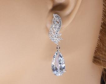 Divine Earrings, Elegant Earrings, Bridal Earrings, Bridal Jewelry, Bridesmaid Earrings, Wedding Earrings, Wedding Jewelry, CZ Earrings