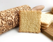 SILVER FLOWERS PATTERN - Embossing rolling pin, laser engraved rolling pin