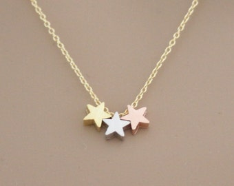Tiny Star necklace, Three Star necklace, Sister necklace, Friend necklace