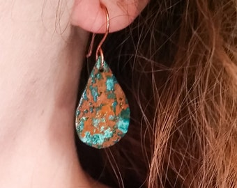 Small Copper Patina Teardrop Earring - Turquoise Colored - Maine made Jewelry - Unique - One of a kind - Sea Salt Patina - Ocean - Handmade