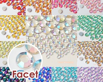 180pcs Mixed 3,4,6,8mm AB Colors Acrylic Flatback Faceted Rhinestones Scrapbooking Nail Craft Sizes - Iridescents - 13 Colors
