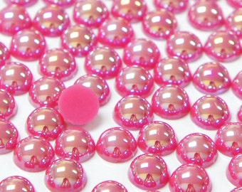 Fantasy Rose AB 2mm-10mm Half Pearl Round Resin Flatback Cabochons Scrapbooking Nail Craft - 100/200/500/1000pcs per pack