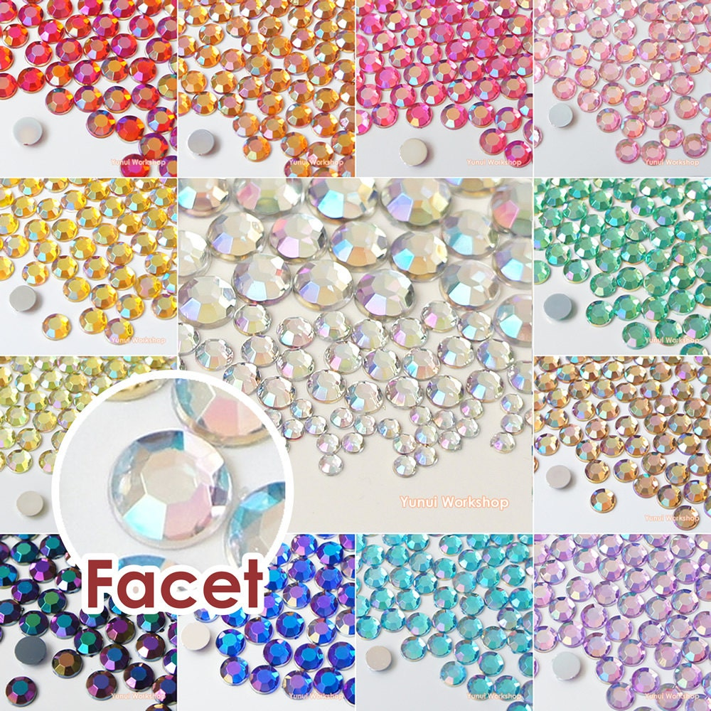 Rhinestone jewels for crafts - 180pcs Mixed 3 4 6 8mm Ab Colors Acrylic Flatback Faceted Rhinestones Scrapbooking Nail Craft Sizes Iridescents 13 Colors