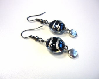 Large earrings with lampwork beads