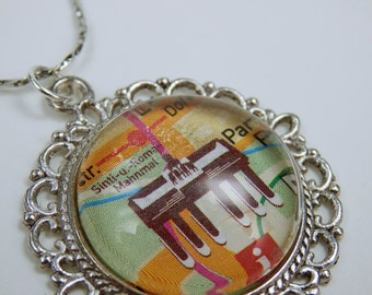 Berlin Germany vintage necklace necklace cabochon pendant silver tone link chain unique Brandenburg Gate city map country map jewelry