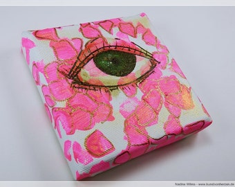 Right now in pink - acrylic on canvas - original mini artwork 10 x 10 cm