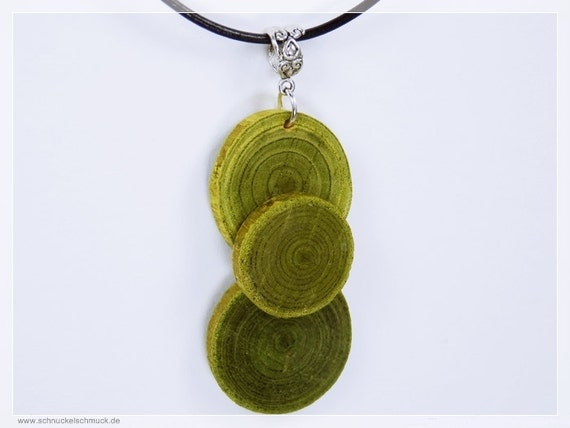 Necklace of green olive wood on silver ribbon and black leather bracelet unique green jewelry wood