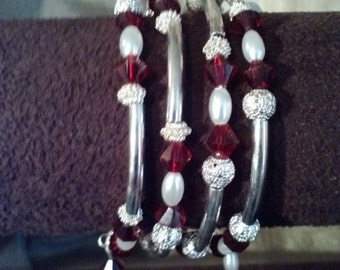 Wrap Bracelet with Red Czech Crystal and Glass Pearls