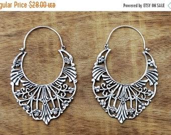 ON SALE Gypsy Hoop Earrings, Silver Hoop Earrings, Boho Earrings, Large Tribal Earrings, Filigree Earrings, Silver Hoops, Gypsy Jewelry