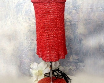 Table lamp, beadwork lampshade, red table lamp,handcrafted table lamp