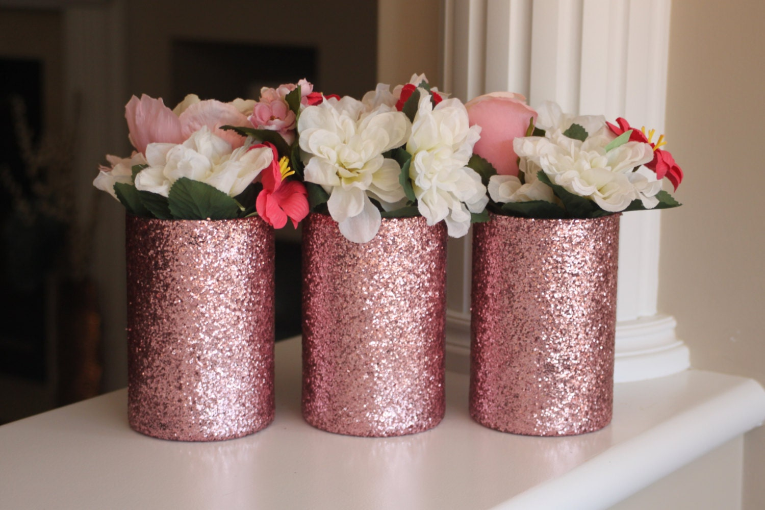 Pink centerpiece glitter vases rose gold