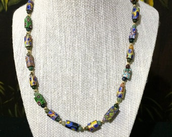 16in.18 kt.Gold And Venetian Millefiori Bead Necklace.