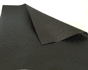 "Black Ostrich Embossed Leather / Black Ostrich Leather / Black Ostrich / Embossed Leather / Genuine Leather / 8"" x 10"" or 3 x 11"""