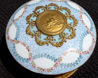 """Antique French Sevres """" bonbonniere"""" hand-painted and gilded porcelain box, family heirloom"""