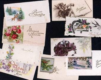 """Various small cards old French for """"new year""""19th century"""