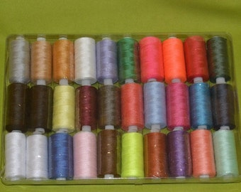 pack of 30 x  200 metre rolls mixed colours cottons