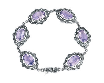 Amethyst And Marcasite Victorian Style Bracelet Sterling Silver