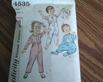 50s Toddler Size 3 Pajamas, Simplicity Pattern 4535 from the 1950s