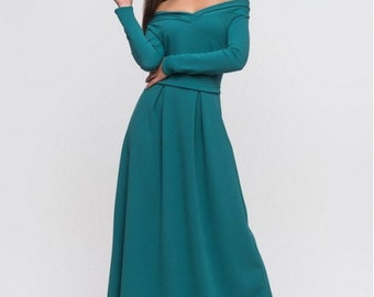 Long turquoise dress / maxi dress for women / Autumn dress to the floor / evening dress / wedding maxi dress