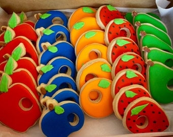 Hungry Caterpillar Inspired Fruit Hole Cookies - Birthday Cookies - Shower Cookies - Childrens Book Cookies - 1 Dozen