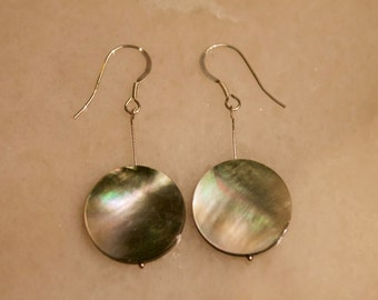 Mother of Pearl Disc Earrings with Sterling Silver/ 14k Gold Fill