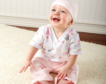 Personalized Baby Nurse 3-Piece Layette Set, Girl's Layette, Baby Clothing, Baby Nurse Outfit