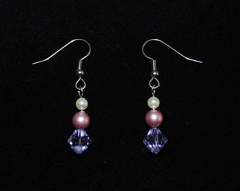 Swarovski Crystal and Pearl Dangle Earring in Rose/Violet/Cream