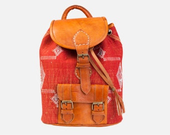 Red kilim Backpack, moroccan leather backpack, kilim rucksack, kilim bag