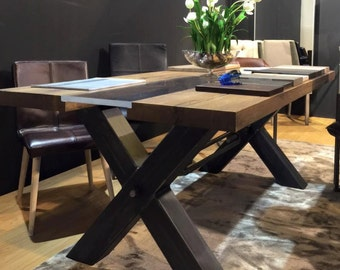 industrial dining table with oak top and metal base