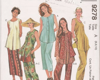 McCall's sewing pattern 9278 misses' 6-10 vest tunic top pants skirt coordinates OOP