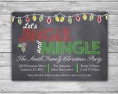 PRINTABLE Christmas Invitation - DIGITAL - Personalized Jingle And Mingle Party Invite - Xmas Holiday Party Custom Dinner Card - X01