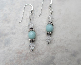 Sea foam green amazonite beads with clear Swarovski crystals and sterling silver beads with sterling silver ear wires