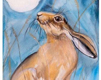 Moon Gazing Hare- Limited Edition Signed Print