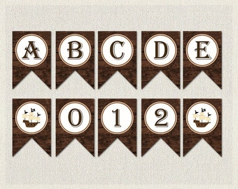 WHOLE ALPHABET Banner Brown Pirate Baby Shower Banner Bunting Happy  Birthday Printable Pirate Ship Complete Alphabet