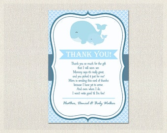 Nautical Baby Shower Thank You Card Nautical Blue Whale Thank You Note Boy Thank You Card printable DIY Baby Shower BS-160