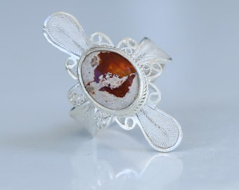 Mexican Opal filigree ring 980 silver