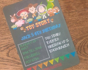 Chalkboard style Toy story party invitation