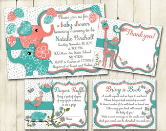 Coral turquoise elephant giraffe baby shower printable invitation set girl digital invite with inserts thank you Diaper Raffle card