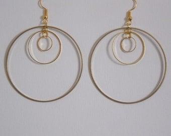 Earrings Golden triple rings