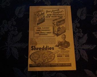 Shreddies/Cubs Vintage Newspaper Ad, 1941
