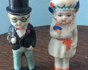 Vintage bride and groom Cake topper probably made before WW11 hand painted