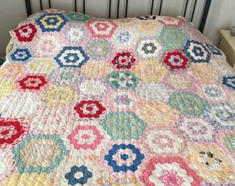 Antique Quilt, Grandmother's Flower Garden, Farmhouse Decor, Bedding, Country Quilt, Homemade Quilt, Multi-Colored Quilt, Farmhouse Decor