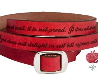 Leather Wrap Bracelet -- Bible Quote 1 Corinthians 13:4-8