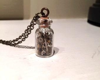 Tiny Steampunk Jar Necklace