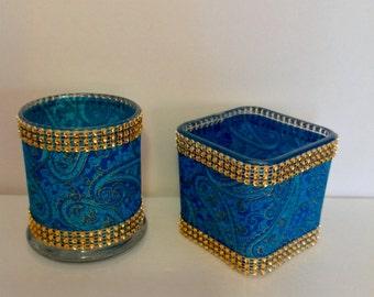 Teal/Paisley  Decorative Mini Vase/Candleholder (Listing For One Vase Only)