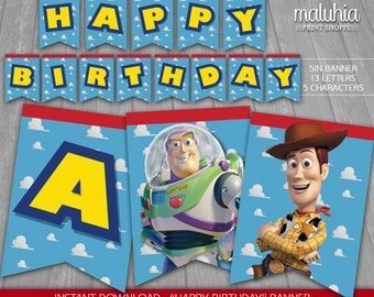 Toy Story Banner - INSTANT DOWNLOAD - Disney Pixar Toy Story Pennants Digital Printable - Toy Story Happy Birthday Pennant Woody Buzz
