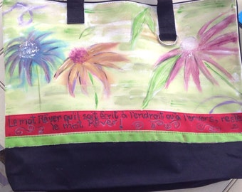 Reusable bag hand painted