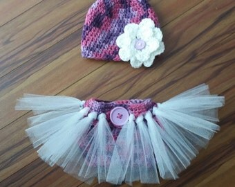 Knotted Tutu Diaper cover and Hat